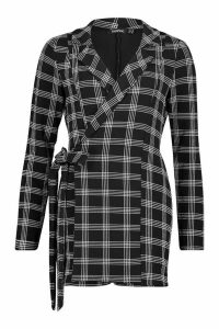 Womens Dogtooth Check Tailored Jersey Playsuit - black - 16, Black