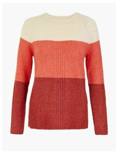 M&S Collection Colour Block Round Neck Jumper