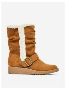 Womens Tan 'Tessa' Buckle Boots, Tan