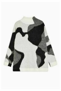 Womens Black And White New Swirl Knitted Jumper - Monochrome, Monochrome
