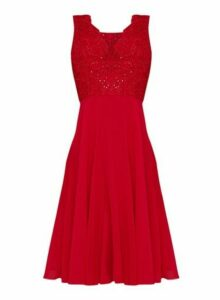 Womens Chi Chi London Red Embellished Midi Skater Dress, Red