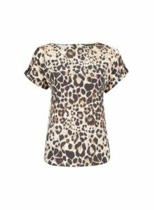 Womens Brown Leopard Printed Tee, Brown