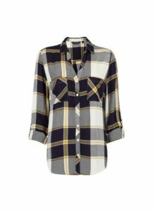 Womens Navy And Ochre Check Print Shirt, Navy