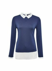 Womens Navy Dobby 2-In-1 Long Sleeve Top- Blue, Blue