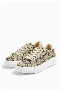 Womens Cuba Snake Lace Up Trainers - Natural, Natural