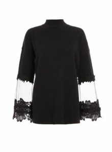 Womens Quiz Knitted Crochet Mesh Jumper - Black, Black