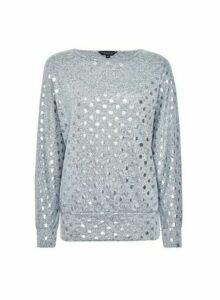 Womens Grey Foil Spot Print Batwing Jumper, Grey