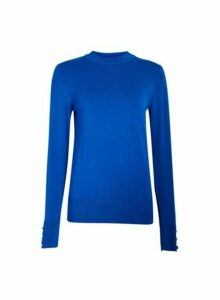 Womens Blue High Neck Jumper- Cobalt, Cobalt