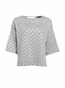 Womens Grey Foil Spot Boxy Jumper, Grey