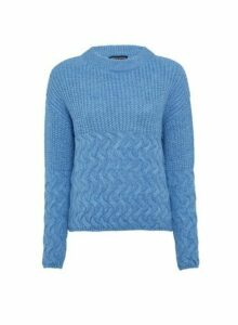 Womens Blue Cable Hem Chunky Jumper, Blue