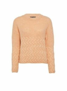 Womens Coral Cable Hem Chunky Jumper, Coral