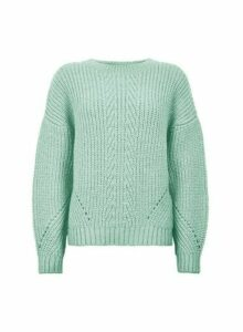 Womens Mint Pointelle Stitch Jumper - Green, Green