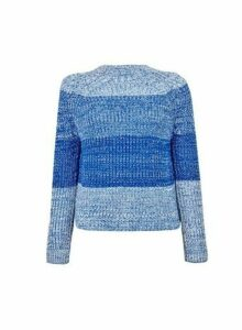 Womens Petite Blue Ombre Jumper, Blue