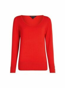 Womens Red Scoop Neck Jumper, Red