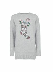 Womens Grey Christmas Stocking Jumper, Grey