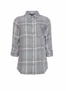 Womens Grey And Black Dogtooth Check Print Shirt, Black