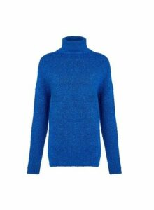 Womens **Tall Cobalt Boucle Roll Neck Jumper, Cobalt