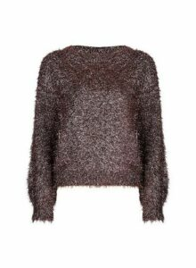 Womens Petite Rose Gold Tinsel Jumper, Rose Gold