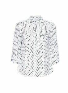 Womens Petite Ivory Spot Print Roll Sleeve Shirt, Ivory