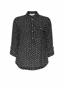 Womens Petite Black And Green Spot Print Roll Sleeve Shirt, Black