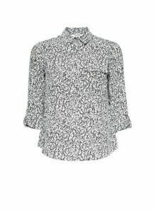 Womens Petite Monochrome Printed Roll Sleeve Shirt- Black, Black