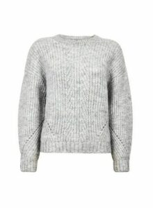 Womens Grey Pointelle Stitch Jumper, Grey