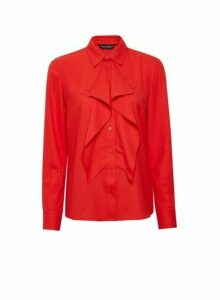 Womens Red Ruffle Front Shirt, Red