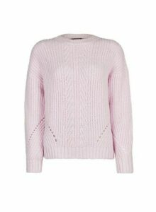 Womens Lilac Pointelle Stitch Jumper- Pink, Pink