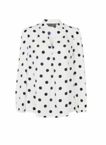 Womens Ivory Spot Print Vienna Long Sleeve Blouse- White, White
