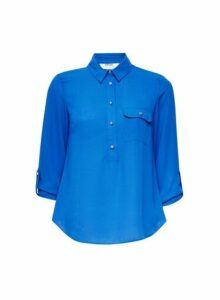 Womens Petite Cobalt Roll Sleeve Shirt- Blue, Blue