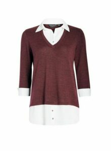 Womens Wine Red V-Neck 2-In-1 Top, Red