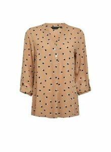 Womens Camel Polka Dot Print Two Button Shirt- White, White
