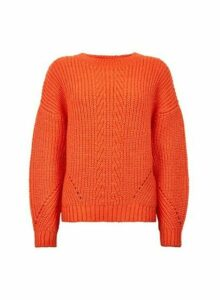 Womens Red Pointelle Stitch Jumper, Red