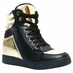 Krisp  Contrast Metallic PU Wedge Trainers  women's Shoes (High-top Trainers) in Black