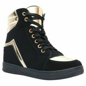 Krisp  Contrast Metallic Suede Wedge Trainers  women's Shoes (High-top Trainers) in Gold
