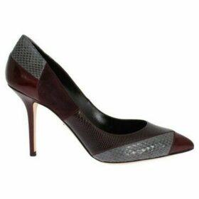 D G  Bordeaux Leather Snakeskin Heels Shoes  women's Court Shoes in multicolour