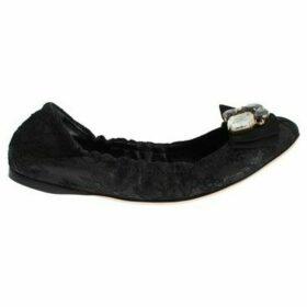 D G  Black Taormina Lace Crystal Ballet Flat Shoes  women's Shoes (Pumps / Ballerinas) in multicolour