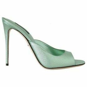 D G  Green Dauphine Leather Mules Stilettos  women's Sandals in multicolour