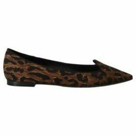 D G  Brown Cotton Leopard Ballet Flats  women's Shoes (Pumps / Ballerinas) in multicolour