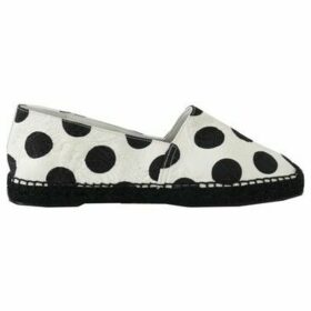 D G  White Polka Dot Espadrille Brocade Shoes  women's Espadrilles / Casual Shoes in multicolour