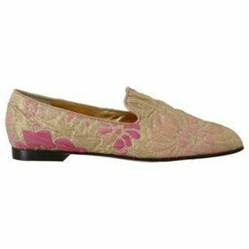 D G  Gold Pink Brocade Loafers Floral Flats  women's Loafers / Casual Shoes in multicolour