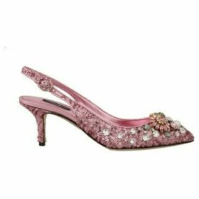 D G  Pink Leather Sequin Crystal Slingback Shoes  women's Court Shoes in multicolour