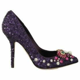 D G  Purple Sequined Leather Crystal  women's Court Shoes in multicolour