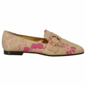 D G  Gold Pink Brocade Crystal Loafers  women's Loafers / Casual Shoes in multicolour