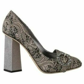 D G  Gray Jacquard Floral Crystal Pumps Shoes  women's Court Shoes in multicolour