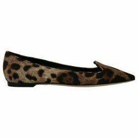D G  Brown Cady Silk Leopard Ballet Flats  women's Shoes (Pumps / Ballerinas) in multicolour