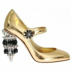 D G  Gold Leather Crystal Chandelier Shoes  women's Court Shoes in multicolour