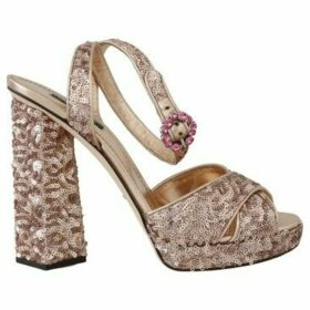 D G  Gold Leather Sequined Crystal Sandals  women's Sandals in multicolour