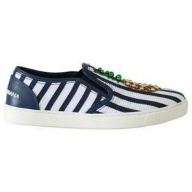 D G  Blue White Leather Pineapple Loafers  women's Slip-ons (Shoes) in multicolour