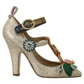 D G  Gold Sequin Crystal Stone Sandal  women's Court Shoes in multicolour